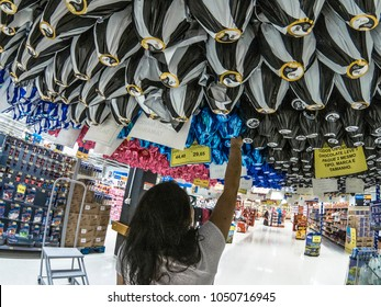 Sao Paulo, SP, Brazil, March 11, 2018. Consumer chooses Easter eggs on hypermarket, in Sao Paulo, SP