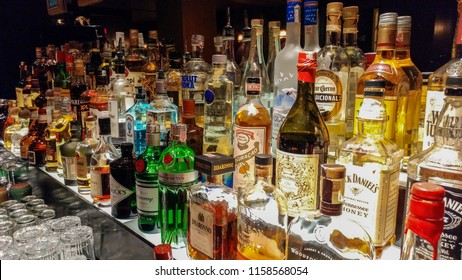 Sao Paulo, SP, Brazil, march 29, 2018 - Alcohol drink bottles in a Sao Paulo's bar, dark background