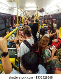 Sao Paulo, SP, Brazil - March 07, 2019: Crowded bus on rush hour in Sao Paulo, Brazil. Public transport, one of the historical issues in Sao Paulo's metropolis. Dr. Arnaldo Avenue, 199D-10 line.