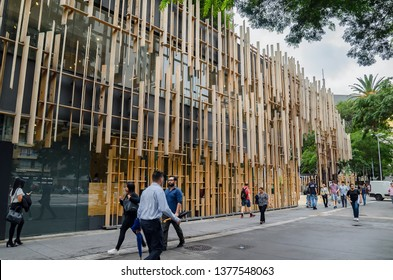 Sao Paulo SP, Brazil - March 01, 2019: Japan House, cultural center based on the Japanese culture with art, culture, gastronomy, technology, etc. Building at Paulista avenue.
