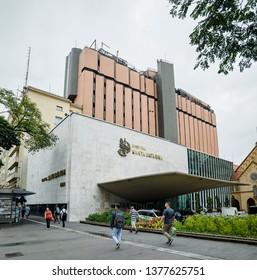 Sao Paulo SP, Brazil - March 01, 2019: Facade of Hospital Santa Catarina (ACSC - Associacao Congregacao de Santa Catarina) at Paulista Avenue. Philanthropic Entity.