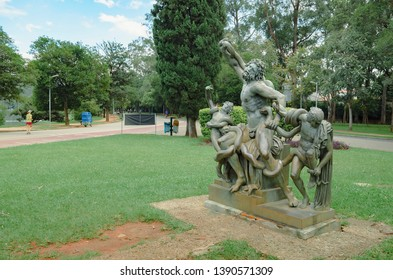 Sao Paulo SP, Brazil - March 02, 2019: Sculpture called Laocoonte e seus filhos (Laocoon and his sons) at Ibirapuera park. Copy in bronze.