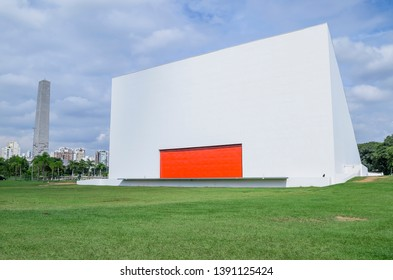 Sao Paulo SP, Brazil - March 02, 2019: Back of the Ibirapuera auditorium (auditorio ibirapuera).