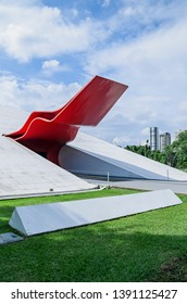 Sao Paulo SP, Brazil - March 02, 2019: Ibirapuera auditorium (auditorio ibirapuera) by Oscar Niemeyer. Place for cultural activities and musical performances.