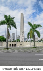 Sao Paulo SP, Brazil - March 02, 2019: Obelisk of Ibirapuera park, also known as Obelisco Mausoleu aos Herois de 32.