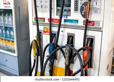 Sao Paulo, SP, Brazil. May 29, 2018. Fuel pump with gasoline, ethanol and diesel at a Shell flag station in the south zone of Sao Paulo.