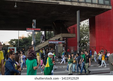 SAO PAULO, SP, BRAZIL - MAY 26, 2019: Main entrance of MASP - São Paulo Art Museum, located on Avenida Paulista, which is closed to vehicular traffic on Sundays and turns into an immense leisure area.