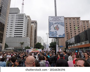 SAO PAULO, SP, BRAZIL - MAY 15th, 2019: Crowds protest against education cuts in Brazil. Students and teachers from hundreds of universities and colleges at Paulista Avenue in Sao Paulo.