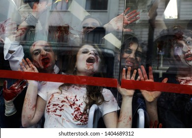 Sao Paulo, SP / Brazil - November 2, 2017: Participants pose for pictures as they take part in the Zombie Walk. Participants commemorated the Day of the Dead with the annual Zombie Walk.