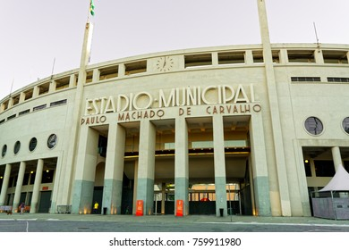 Sao Paulo, SP, Brazil, November 12 - 2017: Municipal Stadium Paulo Machado de Carvalho, Pacaembu, located in Charles Miller Square