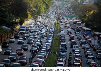 Sao Paulo, SP / Brazil - September 2, 2019: Heavy traffic jam is seen in 23 de maio avenue during the peak rush hour of the day.