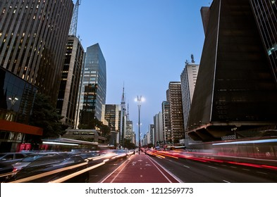 Sao Paulo - SP: Paulista Avenue in the city of Sao Paulo, Brazil, on AUGUST 24, 2017.
