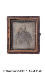 SAO PAULO, SP/BRAZIL, JULY 20, 2016: Old and vintage Daguerreotype case with a portrait on it over a white background. Illustrative editorial image.