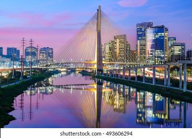 Sao Paulo Sunset Skyline - Brazil