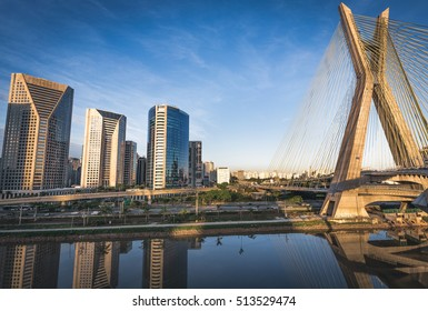 Sao Paulo's Landmark Estaiada Bridge - Brazil
