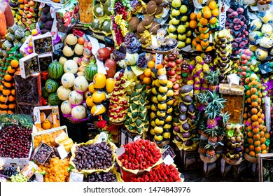 Sao Paulo/Sao Paulo/Brazil - 08 07 2019:  Municipal Market (Mercado Municipal) in Sao Paulo. Its a huge and bustling market with local fruit, vegetable, spice or condiment.