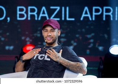 Sao Paulo/Sao Paulo/Brazil april 17 2018  Neymar Jr participates in Semp TCL's event, in Sao Paulo, to confirm the footballer as its new face. Neymar will star in television, internet and print media.