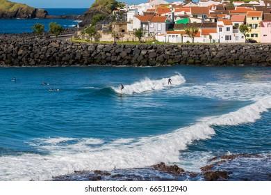 Sao Rogue, Azores, Portugal - May 16, 2017: Surf School in Sao Rogue on Sao Miguel Island, Azores archipelago in the Atlantic Ocean, Portugal