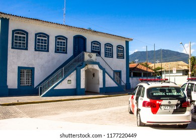 Sao Sebastiao, Sao Paulo, Brazil, May  16, 2015. Headquarters of the Military Police Battalion installed in the old Town House and Chain in city center of Sao Sebastiao.