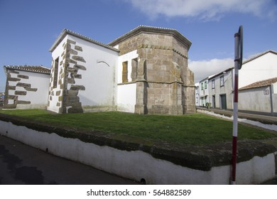 Sao Sebastiao typical village in Terceira island Azores Portugal on January 9, 2017. The parish church.