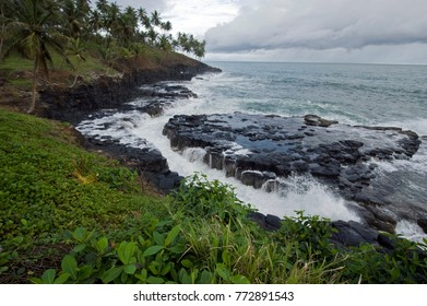 Sao Tome, Boca del Inferno, big tourist attraction, high waves in tropical climate