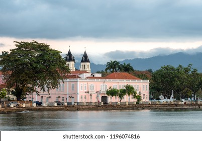Sao Tome city view cathedral and palace, Travel to Sao Tome and Principe. Beautiful paradise island in Gulf of Guinea. Former colony of Portugal.