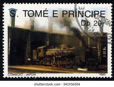 SAO TOME AND PRINCIPE - CIRCA 1989: A stamp printed in Sao Tome shows Locomotive of Japan, Locomotive series, circa 1989