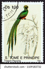 "SAO TOME AND PRINCIPE - CIRCA 1992: A stamp printed in Sao Tome and Principe from the ""Birds"" issue shows Trogon Pavonis (Pharomachrus pavoninus), circa 1992."