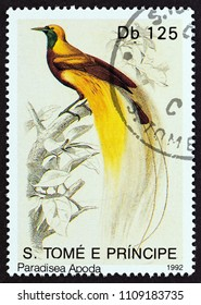 "SAO TOME AND PRINCIPE - CIRCA 1992: A stamp printed in Sao Tome and Principe from the ""Birds"" issue shows Greater bird-of-paradise (Paradisaea apoda), circa 1992."