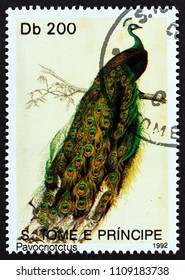 """SAO TOME AND PRINCIPE - CIRCA 1992: A stamp printed in Sao Tome and Principe from the """"Birds"""" issue shows Indian peafowl (Pavo cristatus), circa 1992."""