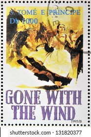 SAO TOME AND PRINCIPE - CIRCA 1995: A stamp printed in Sao Tome shows movie poster Gone with the wind, circa 1995