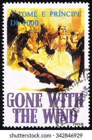 SAO TOME AND PRINCIPE - CIRCA 1995: A stamp printed in Sao Tome shows Movie Poster GONE WITH THE WIND, Film Poster series, circa 1995