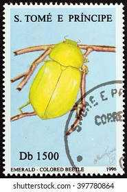 """SAO TOME AND PRINCIPE - CIRCA 1996: A stamp printed in Sao Tome and Principe from the """"Insects """" issue shows colored beetle, circa 1996."""
