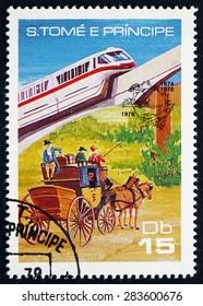 SAO TOME AND PRINIPE - CIRCA 1978: a stamp printed in Sao Tome and Principe shows Monorail and Stagecoach, circa 1978