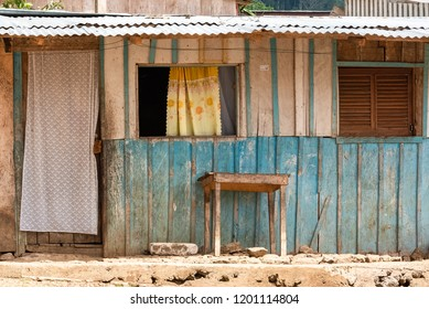 Sao Tome, typical wooden house in a village