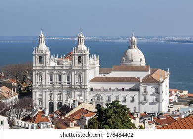 Sao Vicente de Fora Monastery, and the dome of the National Panteon (Santa Engracia church aka Panteao Nacional). Lisbon, Portugal