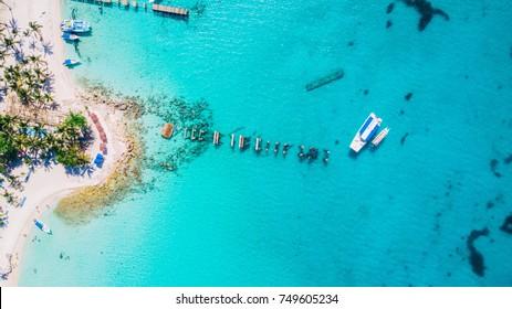 Saona Island in Dominican Republic aerial drone