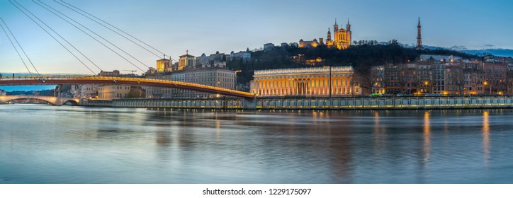 the Saone river in Lyon during twilight