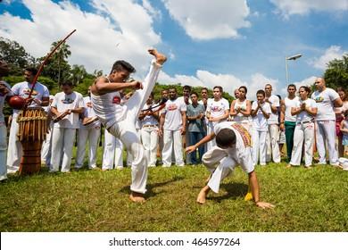 Saoo Paulo, Brazil, 03 April 2016. Group of Brazilian capoeiristas performing at the Ibirapuera Park in Saoo Paulo, Brazil.