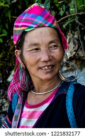 SAPA, Lao Cai, Vietnam - 10/05/2018: Portrait of an unknown woman of the tribe of the Black H'mong ethnic minority groups. June 11, 2012 in Sapa, Vietnam. Black H'mong tribe is a minority in Vietnam