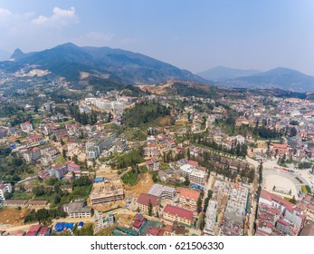 SAPA, VIETNAM - 05 MAR 2017: View from above of the city Sapa in north west Vietnam. The city and the countryside is populated with many ethnic groups and receive a lot of tourists.