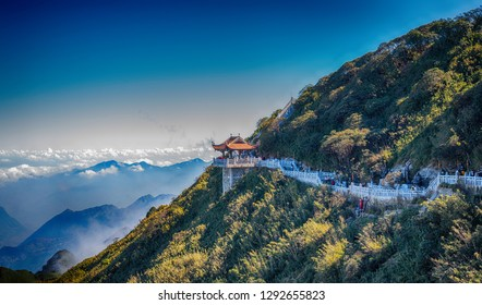Sapa Vietnam, 25 December  2018:A scenic view of Heaven on earth, Fansipan highest mountain summit of Indochina in sapa lao cai province northern of vietnam