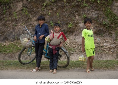 Sapa, Vietnam. 27 September 2018: Vietnamese children at a very young age earning some money by selling fruits.