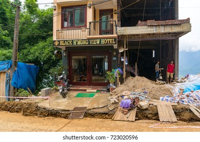 Sapa, Vietnam - August 19, 2017: Construction of a hotel in Sapa town. Sapa is rapidly developing popular tourist destination in Vietnam