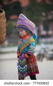 SAPA, VIETNAM, Dec 3: H'mong ethnic minority children on Dec 3, 2017 in Sapa, Vietnam. H'mong is the 8th largest ethnic group in Vietnam.