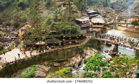 SAPA, VIETNAM- JANUARY, 2020: Cat cat village in autumn season, the natural village with green plants farm, waterfalls and traditional house in Sapa, Laocai, Vietnam