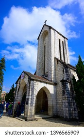 SAPA VIETNAM - NOV 27,2018 ancient stone church with blue sky, most popular traveling destination in sapa, Vietnam