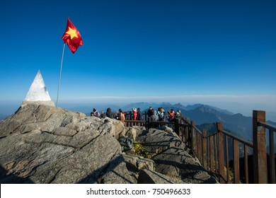 SAPA VIETNAM - NOV4,2017 : large number of tourist attraction to top of fansipan mountain highest mountain peak of indochina  sapa north of vietnam
