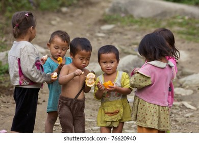 SAPA, VIETNAM - NOVEMBER 21: Six unidentified Vietnamese children play and eat in Sapa, Vietnam on November 21, 2010. Vietnam's 2011 population is 90,549,390 with 25% of the population age 14 and under