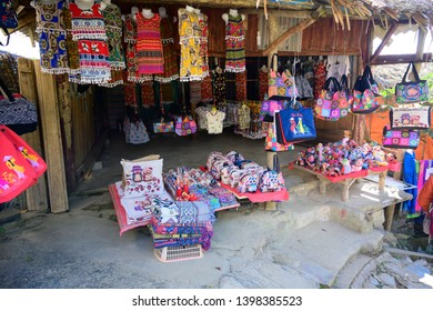 SAPA, VIETNAM - NOVEMBER 27, 2018: clothes and accessories for sale at Sapa in Vietnam, Hmong ethnic style